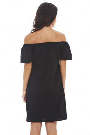 Women's Off Shoulder Swing  Black Dress