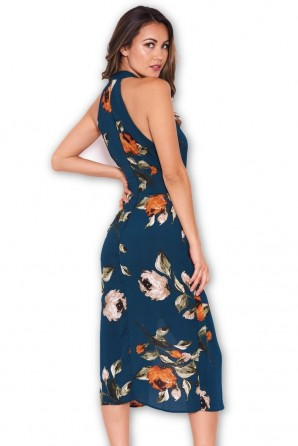 Women's Teal Floral Midi Wrap Dress