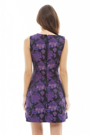 Women's Bright Floral Skater  Purple Dress