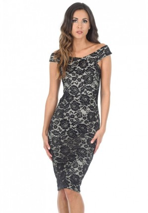 Women's Black And Nude Cross Over Lace Midi Dress