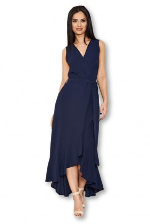 Women's Navy Frill Wrap Dress