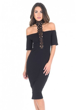 Women's Black T-bar Crochet Midi Bodycon Dress