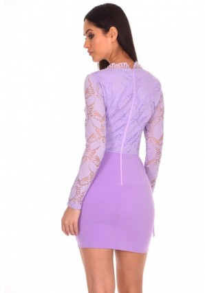Women's Lilac Tassel Embroidered Lace Dress