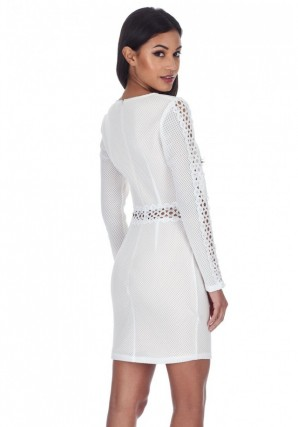 Women's Cream Mesh Sleeves With Crochet Detailing Mini Dress