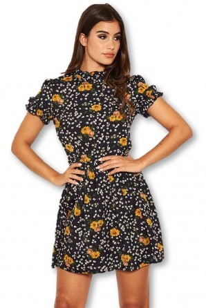 Women's Navy Mixed Floral Frilled Skater Dress