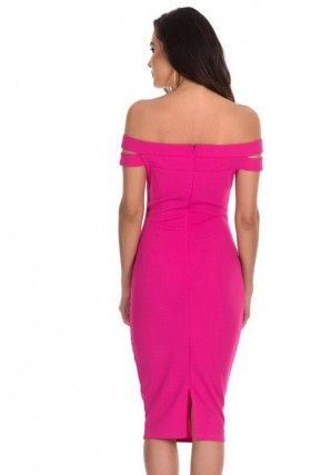 Women's Pink Double Strap Midi Dress