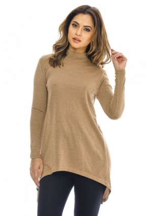 Women's Split Back Knitted  Camel Top