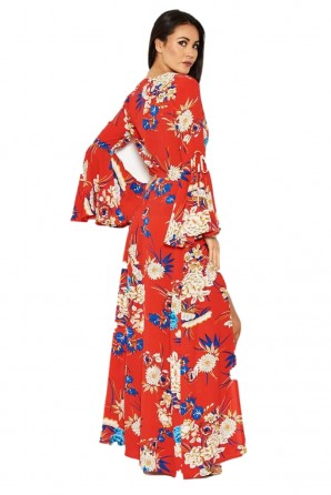 Women's Red Floral Print Dress With Leg Split
