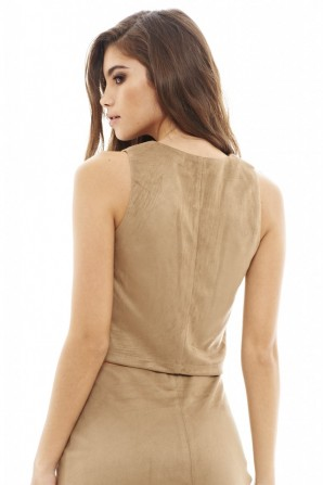 Women's Faux Suede Zipped  Stone Top