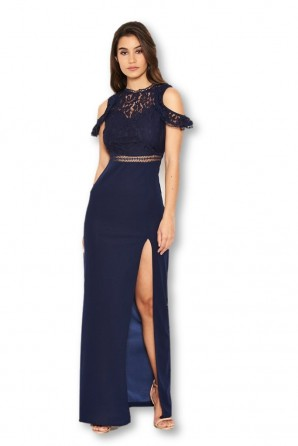 Women's  Lace Top Navy Maxi Dress
