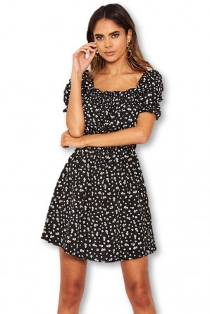 Women's Black Floral Printed Puff Sleeve Ditsy Dress