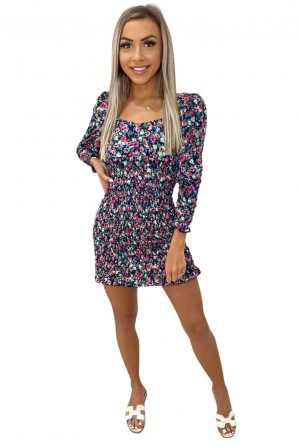 Women's Navy Floral Printed Shirred Bodycon Dress