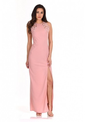 Women's Blush Lace Detail Maxi Dress