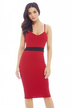 Band Contrast Bodycon Red Dress