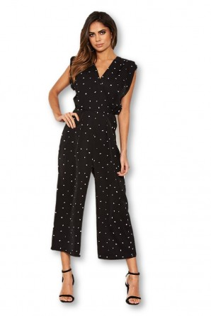 Women's Black Spotty Wrap Culotte Jumpsuit