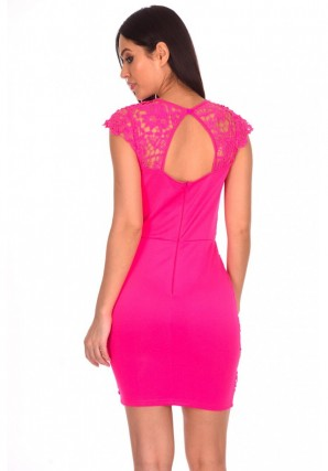 Women's Cerise Crochet Detail Mini Dress