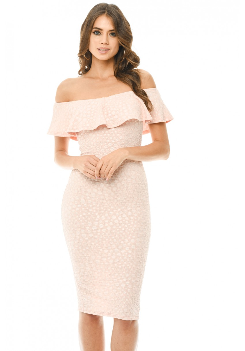 f8987f9de80d Women s Pink Off The Shoulder Frill Bodycon Midi Dress - AX Paris ...