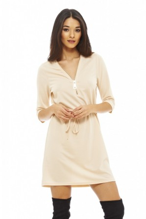 Women's Zip Front Tie Belt Nude Tunic