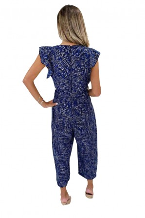 Women's Blue Printed V-Neck Frill Jumpsuit