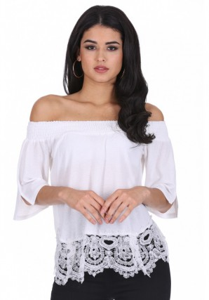 Women's Cream Off The Shoulder Crochet Top
