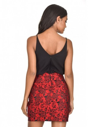 Women's Black Red Floral Two In One Dress