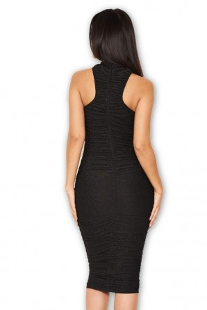 Women's Black Ruched Midi Dress With High Neck
