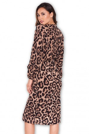 Women's Animal Print V-Neck Wrap Dress