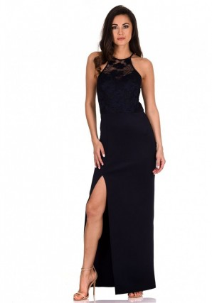 Women's Navy Lace  Top Maxi Dress