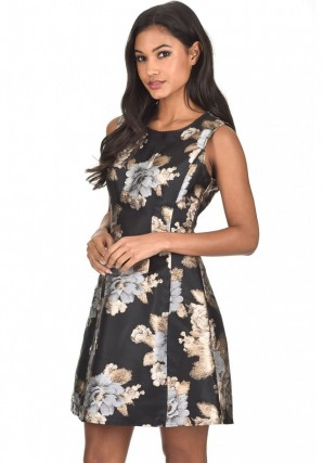 Women's Black Floral Metallic Skater Dress
