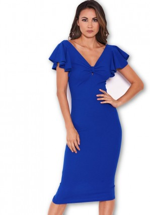 Women's Blue Bow Front Midi Dress
