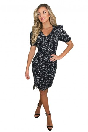 Women's Black Spotty Ruched Elasticated Tie Side Dress