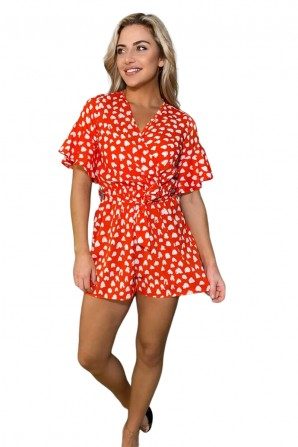 Women's Red Heart Print Wrap Romper