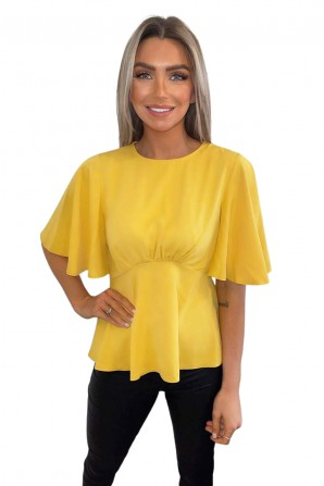 Women's Yellow Flared Short Sleeve Blouse