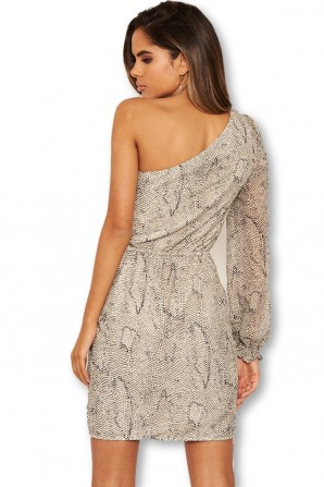 Women's Cream Snake Print One Shoulder Dress With Side Ruched Detail