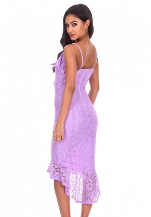 Women's Lilac Lace Fishtail Hem Bodycon Dress