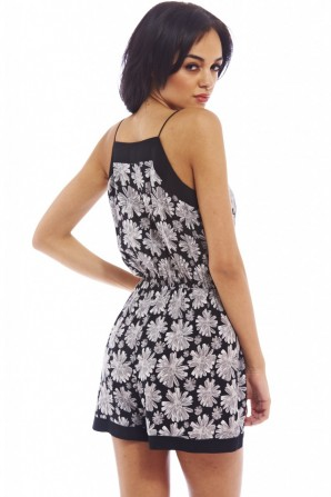 Women's Floral String Strapgrey Romper