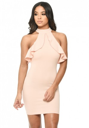 Women's Pink High Neck Cold Shoulder Bodycon Dress With Frilled Detail