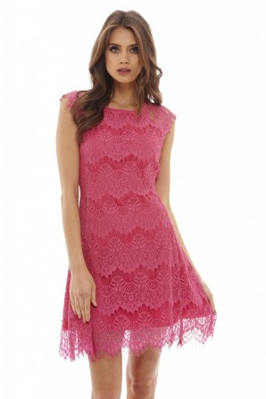 Women's Capped Sleeve Crocheted     Lace  Pink Dress