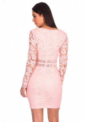 Women's Pink Crochet Detailed Dress