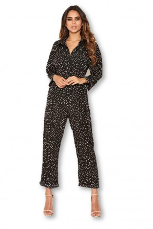 Women's Black Polka Dot Belted Jumpsuit