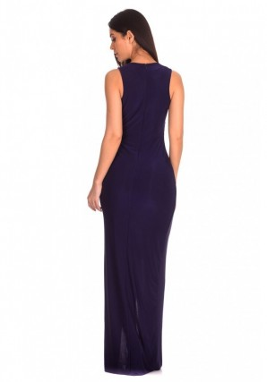 Women's Navy Lace Detailing Maxi Dress