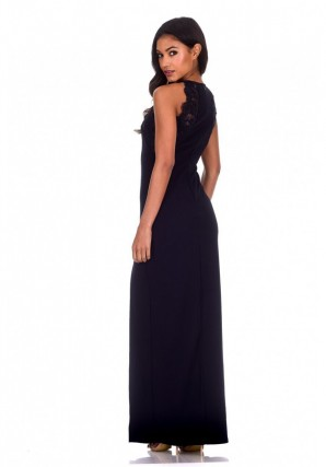 Women's Navy Lace Detail Maxi Dress