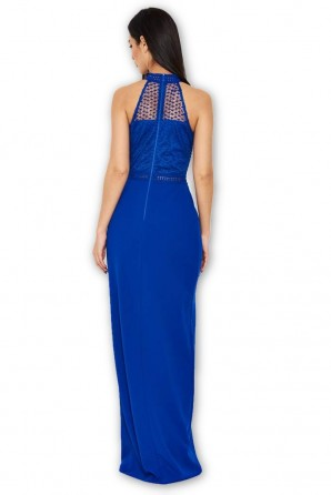 Women's Blue Crochet Top High Neck Maxi Dress