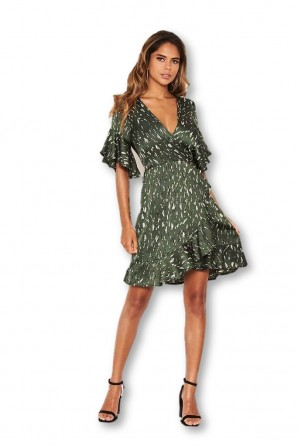 Women's Green Printed Full Wrap Mini Dress