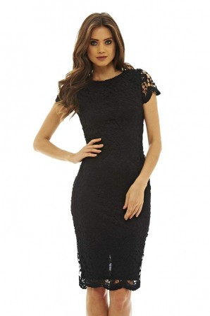 Women's  Crochet  Lace Midi Black Dress