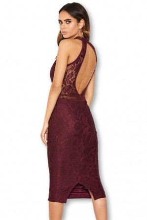 Women's Plum Halter-Neck Lace Detail Bodycon Midi Dress