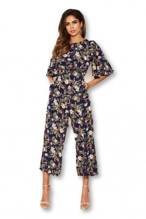 Women's Navy Flared Leg Floral Jumpsuit
