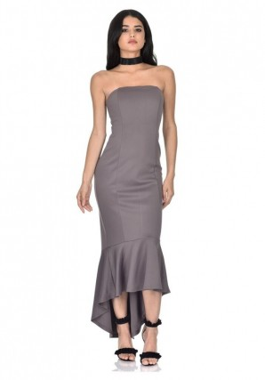 Women's Pewter Strapless Fishtail Dress
