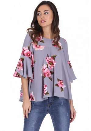 Women's Grey Floral Frilled Sleeved Top