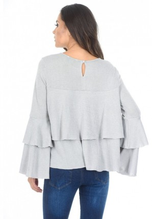 Women's Silver Long Sleeve Frill Sweater